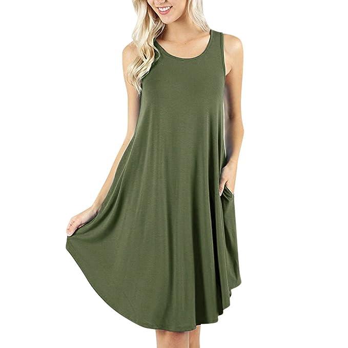 932380882a nuochimaoyi Elegant Dress Women's Solid Sleeveless Dress Swing T-Shirt  Dresses Please Check The Loose