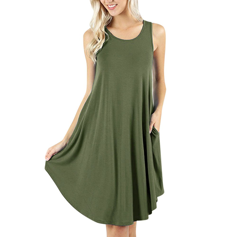 Women's Solid Sleeveless O-Neck Pockets Mini Dress Casual Cocktail Club Party T-Shirt Camis Dresses Beach Sundress Army Green