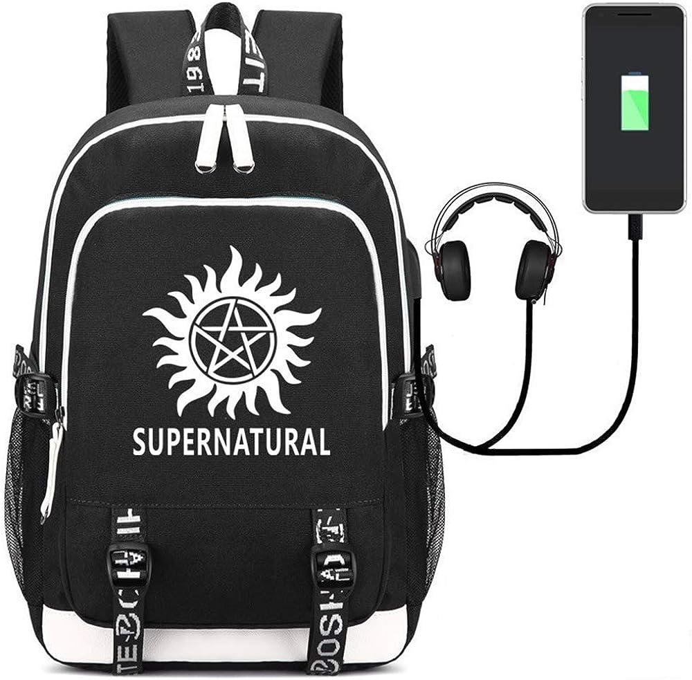 Caiyan Hot Fashion Unisex Supernatural SPN Backpack USB Charging Headphones Bag Laptop Bag School Backpack