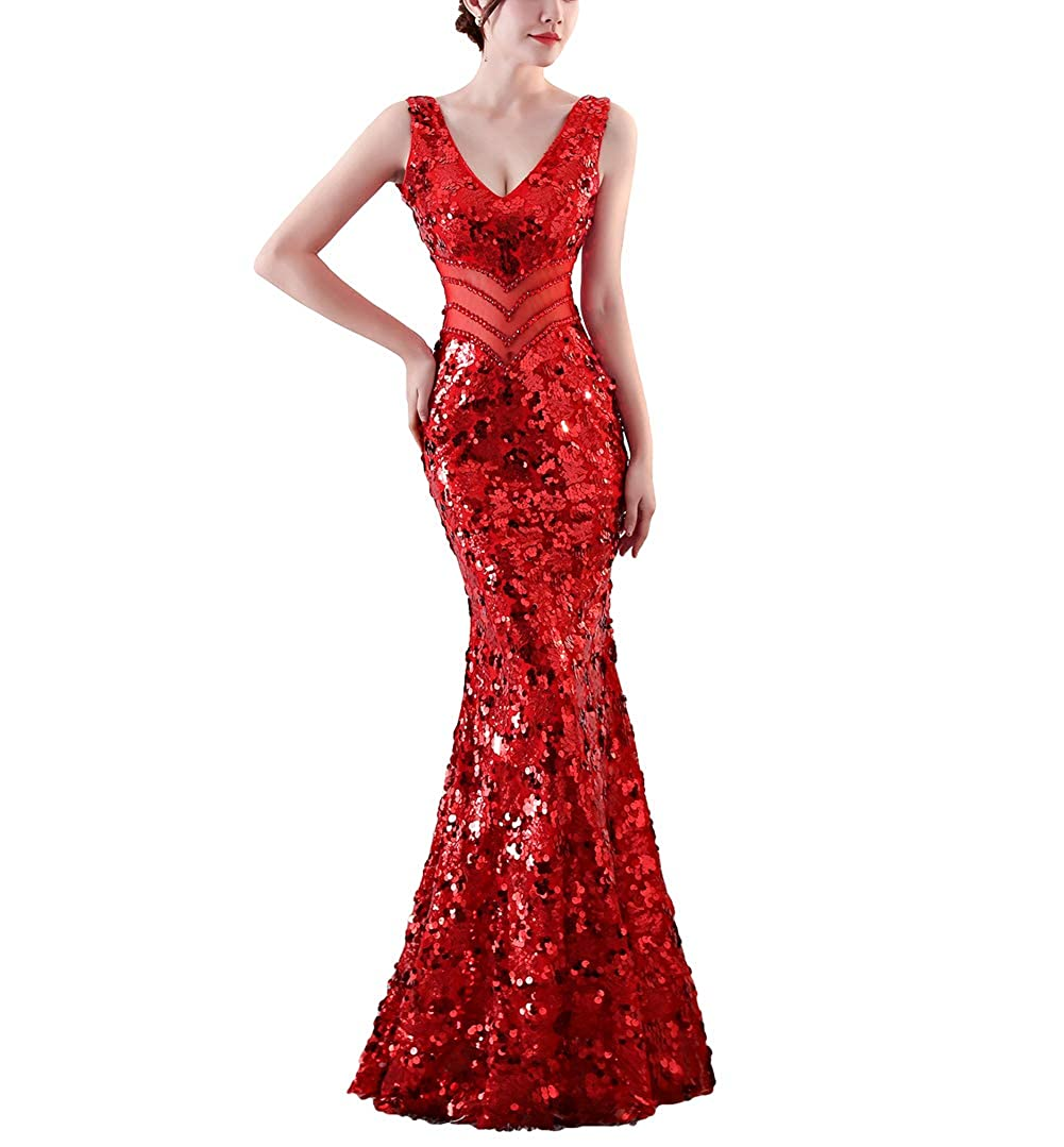 1101red Chowsir Women Sexy Elegant Slim Sequin Long Cocktail Party Evening Dress