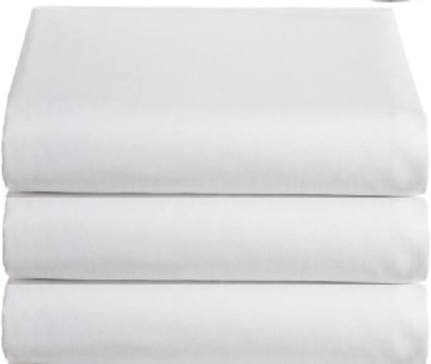 White Classic Flat Hospital Bed Sheets, Twin Size Flat Sheets, 3-Pack,: Home & Kitchen