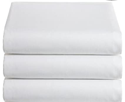 Marvelous White Classic Flat Hospital Bed Sheets, Twin Size Flat Sheets, 3 Pack,
