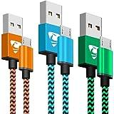 Aione Cable Micro USB Carga Rápida 2m, Sincro y Carga USB Compatible con Dispositivos Android, Samsung Galaxy, Kindle, TCL, Sony, Nexus y Más, 3-Pack (Azul,Naranja,Verde)