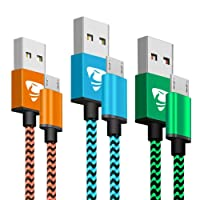 Micro USB Cables 2m/6.6ft Aione Android Cable (3 Pack) Nylon Braided USB Cable- Compatible with Samsung, Nexus, LG, Sony, HTC, Motorola, Kindle, PS4 Controller and More-Blue, Green, Orange