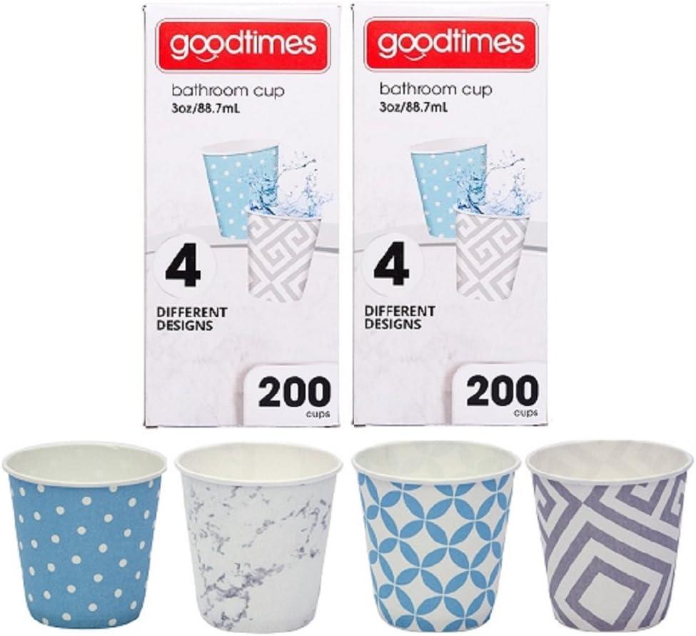 Goodtimes Bathroom Cups, 3 oz 200 ea, Assorted designs (2, Contemporary)