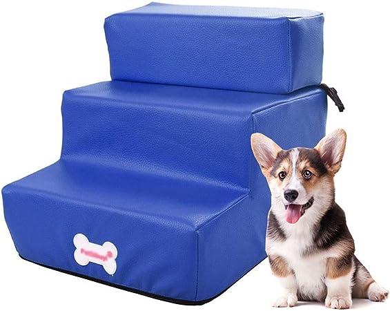 Escalera de Mascota Escaleras de Perro ensamblables para sofá, rampa para peldaños de Cama para Perros con rampa Desmontable para Mascotas, hasta 3 kg, Superficie Impermeable (Color : Azul): Amazon.es: Hogar