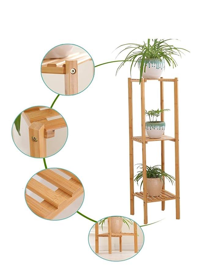 Estante de bambú Soporte Multifuncional de Flores Estante de baño Organizador de Almacenamiento Estante Soporte de exhibición de la Planta para Balcón de ...