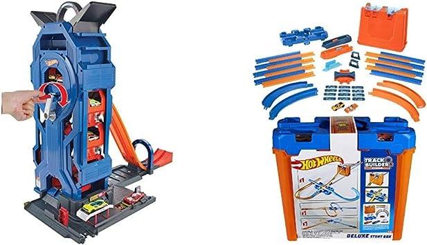Hot Wheels- Supergaraje, Garaje para Coches de Juguete, Multicolor (Mattel GWT34) + Wheels - Track Buider Caja de Acrobacias Deluxe, Accesorios para Pistas de Coches de Juguete (Mattel GGP93): Amazon.es: Juguetes y