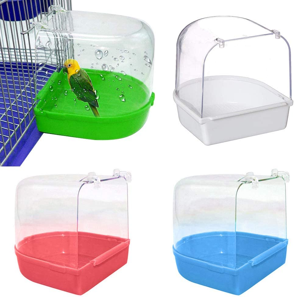 MoMo Honey Bañera De Loros, Caja De Ducha para Pájaros para Mascotas, Espacio De Lavado Transparente, Jaula De Baño para Cacatúa De Periquito De Aves Verde