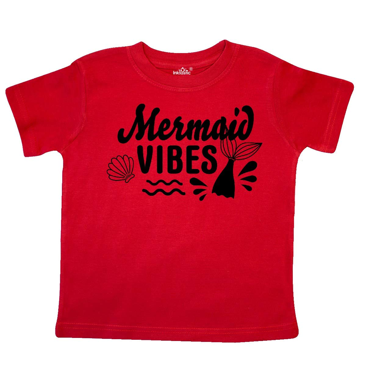 inktastic Mermaid Vibes with Tail and Seashell Toddler T-Shirt