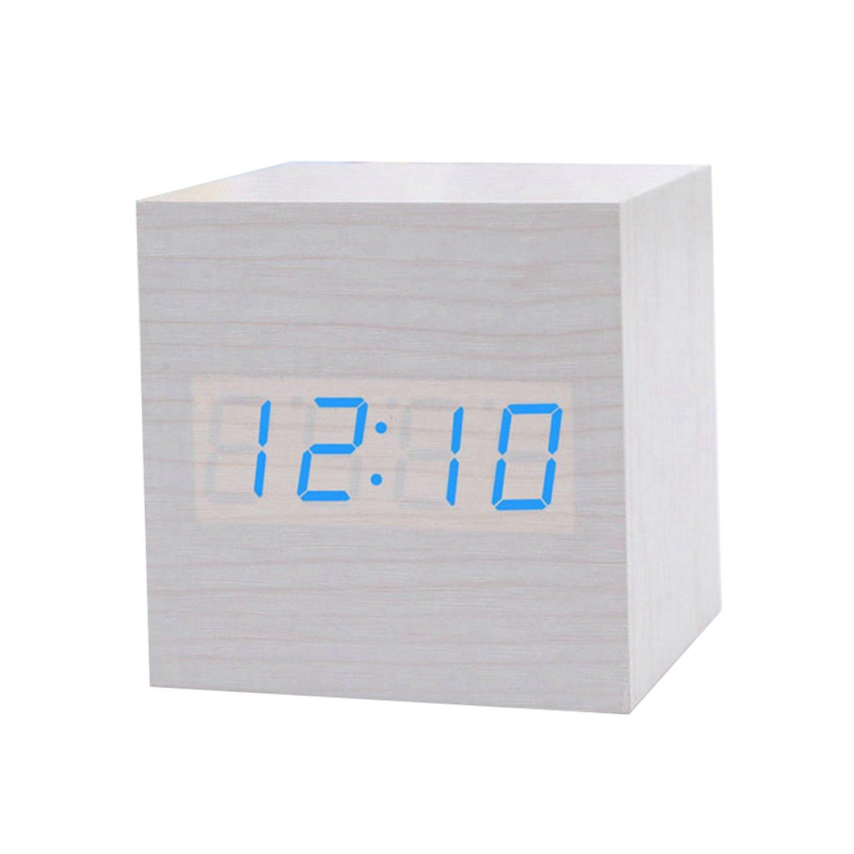 JLYSHOP Wooden Alarm Clock, USB Digital Retro Alarm Clock Cube Wood Led Desktop Table Home Decor Mini Travel Clock Voice Sound Control (White)