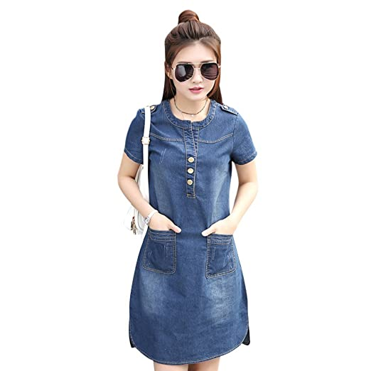 Yiitay Summer Women Dress Plus Size Jeans Denim Dress Casual Office Jeans Dress Vestidos Robe Party