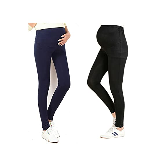5c54d667a6b7b Bold N Elegant Black & Navy Blue Comfortable Maternity wear Thin Summer  Pregnancy Leggings Combo of