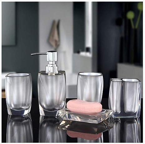 Lfhing acrylique Lot de 4 accessoires de salle de bain Distributeur de savon Bouteille Porte-savon Tasse Porte-brosse /à dents rouge