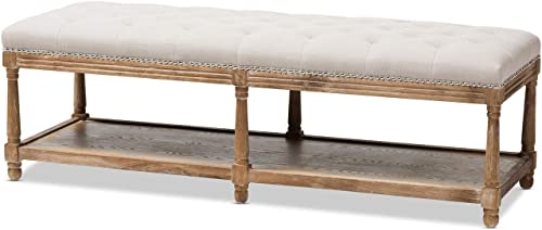 Baxton Studio Celeste French Country Weathered Oak Beige Linen Upholstered Ottoman Bench French Country/Beige/Weathered Oak/Fabric Cotton 50 /