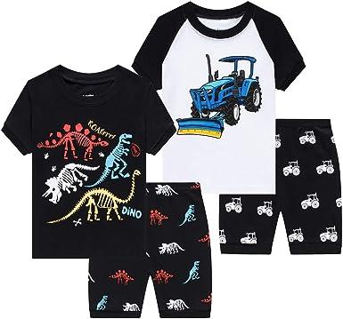 Benaive Pajamas for Boys 4-Piece Children Sleepwear Pjs for Toddler Boy Cotton Summer Pajama Lounge Shorts Set