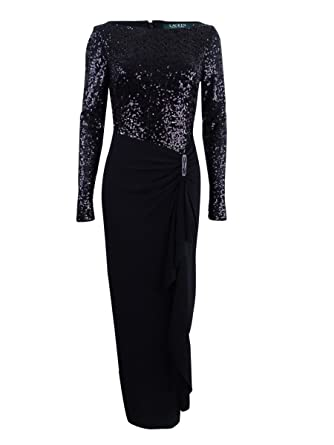 2c75a568ccce5 Lauren Ralph Lauren Women's Sequin Ball Gown Dress Black 2 at Amazon  Women's Clothing store: