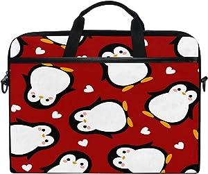 HAIIO Laptop Bag Case Love Heart Penguin Bird Animal Computer Protector Bag 14-14.5 inch Travel Briefcase with Shoulder Strap for Women Men Girl Boys