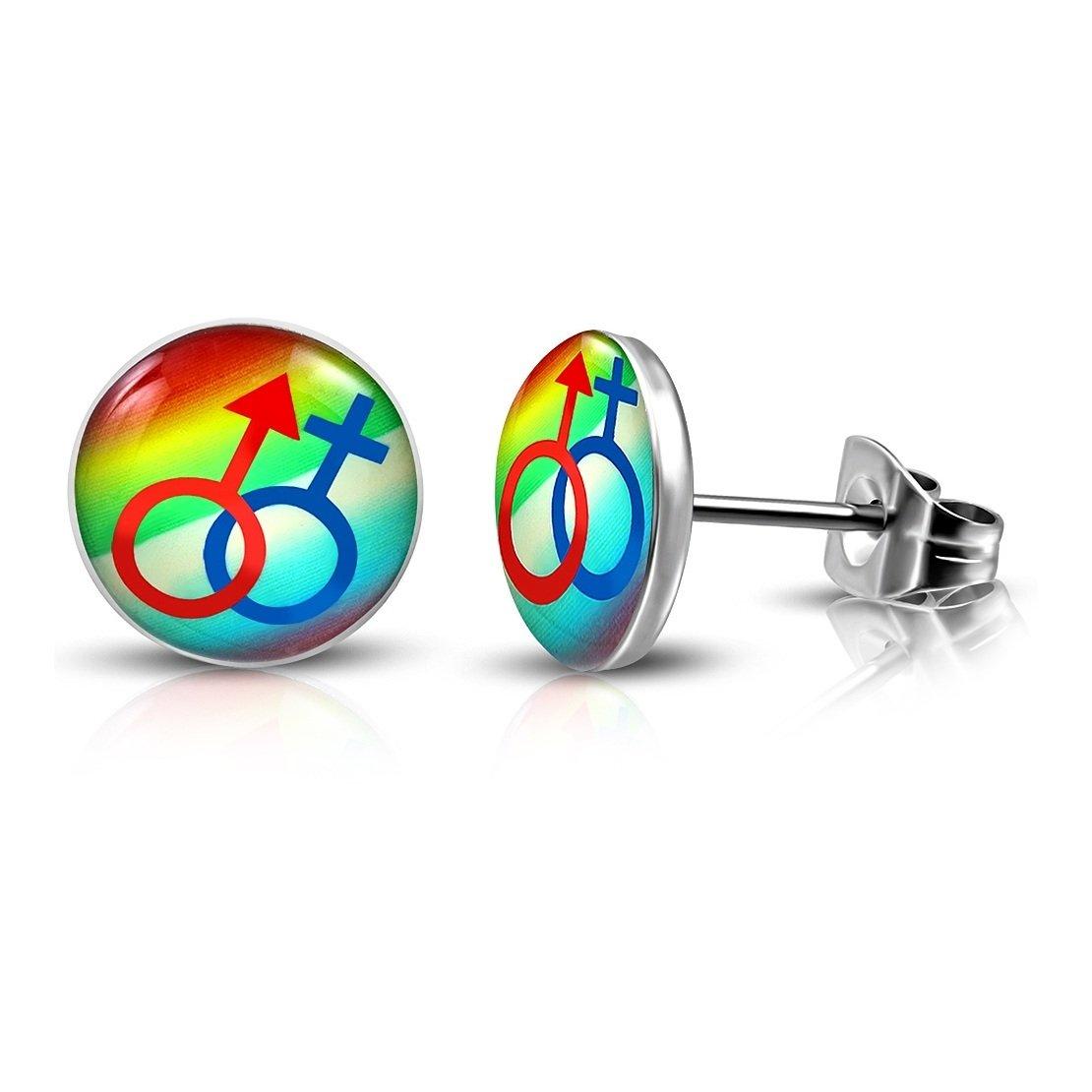 pair Stainless Steel Male// Female Gender Symbol Rainbow Color Circle Stud Earrings