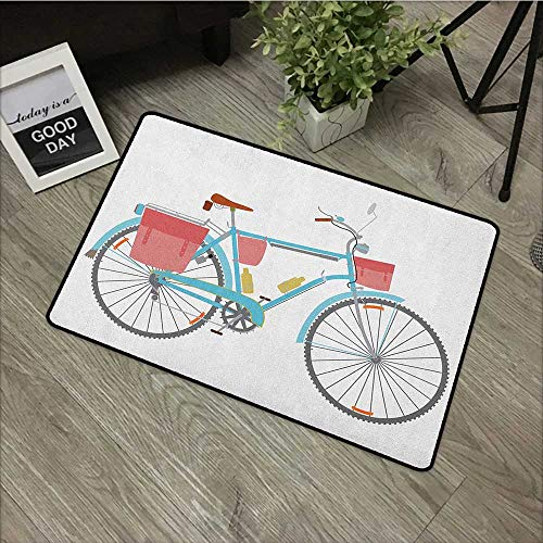 Learning pad W31 x L47 INCH Bicycle,Classic Touring Bike with Derailleur and Saddlebags Healthy Active Lifestyle Travel, Multicolor Our bottom is non-slip and will not let the baby slip,Door Mat Carpe