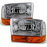 For 1999-2004 Ford F250 F350 F450 F550 SuperDuty Excursion Chrome Headlights With Amber Bumper Signal Light Lamps