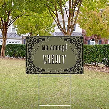 18x12 CGSignLab 5-Pack Victorian Gothic Double-Sided Weather-Resistant Yard Sign We Accept Credit