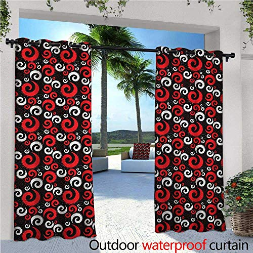 Red and Black Outdoor Privacy Curtain for Pergola Modern Pattern with Swirl Shapes and Dots Spirals Abstract Vintage Style Thermal Insulated Water Repellent Drape for Balcony W72