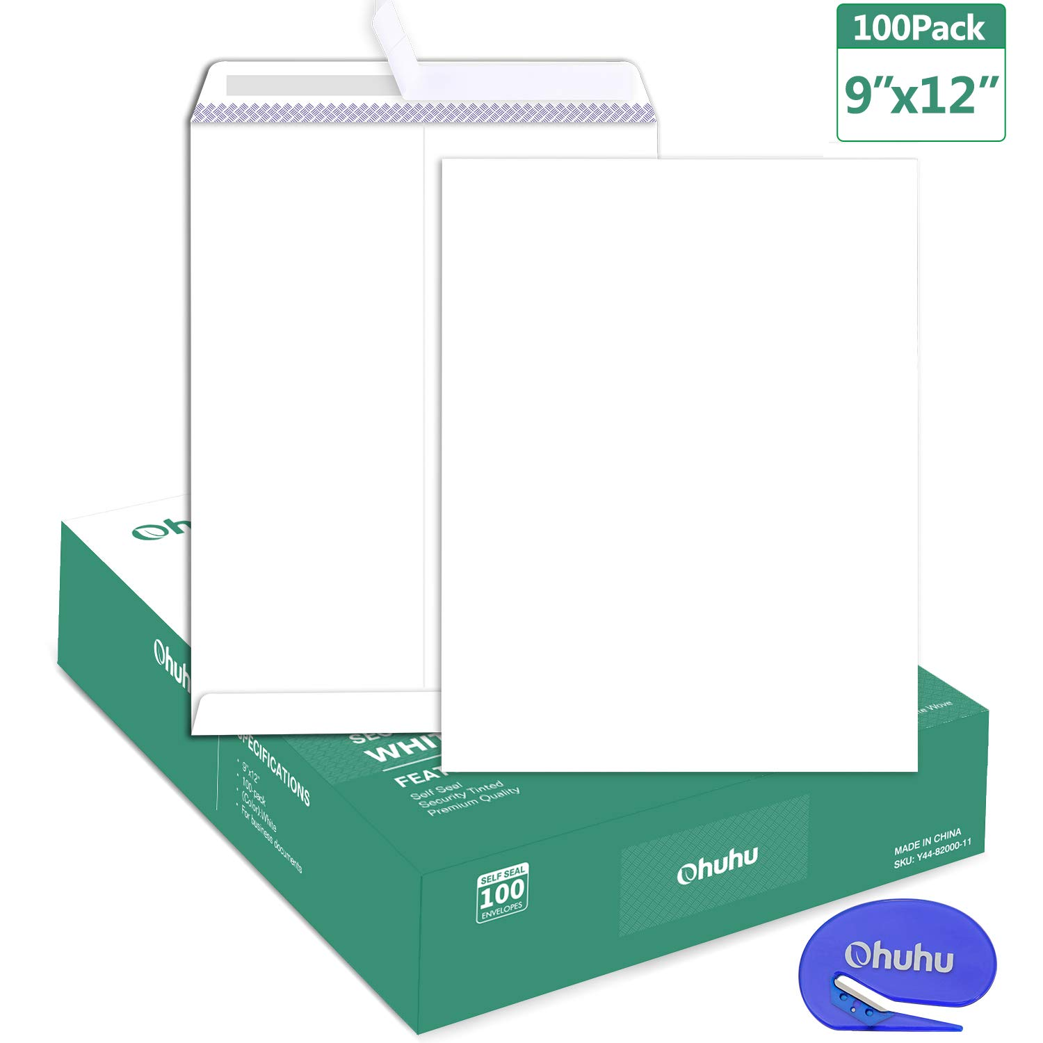 100 9 x 12 Self Seal Security White Catalog Envelopes Ohuhu, for Business Documents, Secure Mailing, Photos, Ultra Strong Quick-Seal, 100 Envelope with Letter Opener, 28 lb by Ohuhu (Image #1)