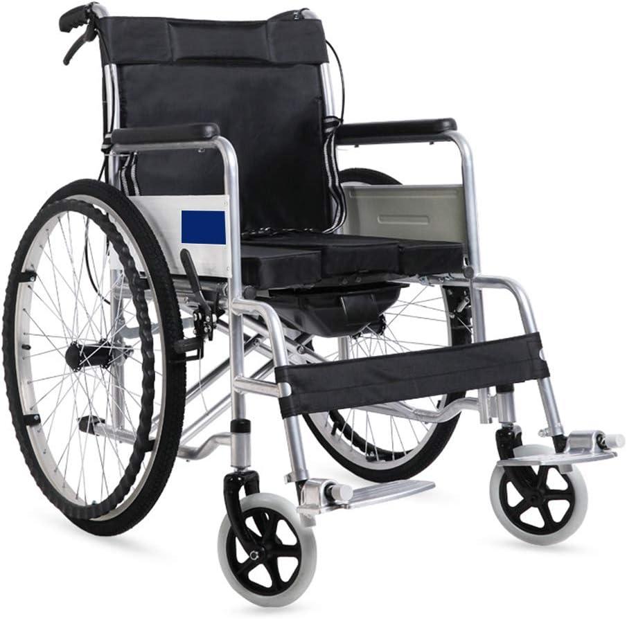 LYN&xxx Aluminio Silla de Ruedas, Silla de Ruedas Plegable de Peso Ligero, automotor cómodo con Silla de Ruedas portátil, reposapiés extraíbles,Negro