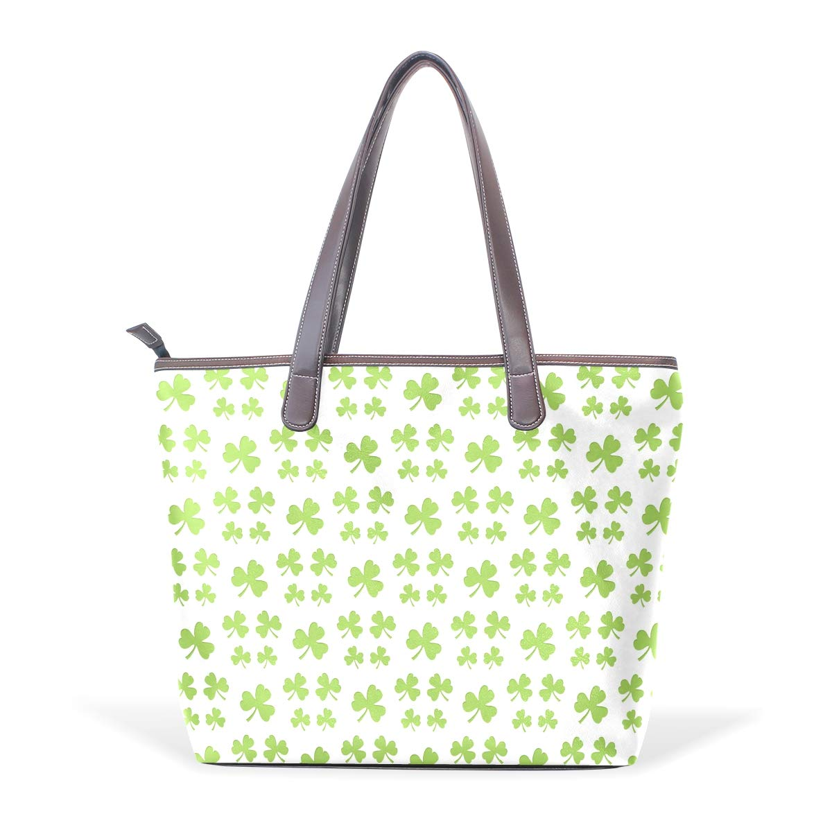 Womens Leather First Patricks Day Clover Gifts Handbag Satchel Tote Bag Tote Purse