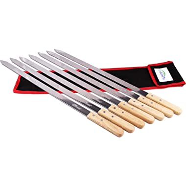 Goutime 23 Inch, 1 Inch Wide Stainless Steel BBQ Skewers for Making Koubideh/Persian/Brazilian Kabob, Set of 7 with Bag