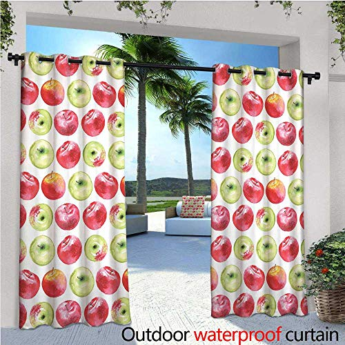 cobeDecor Apple Outdoor Blackout Curtains Watercolor Macoun Cameo and Granny Smith Drawing in Agricultural Yield Pattern Outdoor Privacy Porch Curtains W96 x L84 Apple Green Red (Line Cameo)