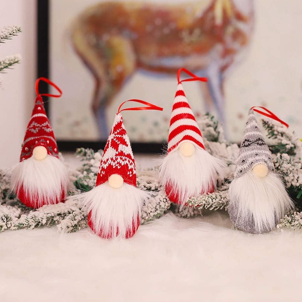 Decoraci/ón del Hogar Adornos de Barba de Pap/á Noel para /Árbol de Navidad iSpchen Juego de 4 Adornos Navide/ños de Gnomo Adornos Navide/ños para Colgar Chimenea
