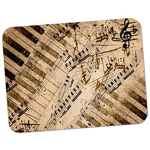 Extra Thick Rubber Mouse Pad / Mat - 9.6 x 7.5 x 0.2 inches - Music Notes & Piano Keys