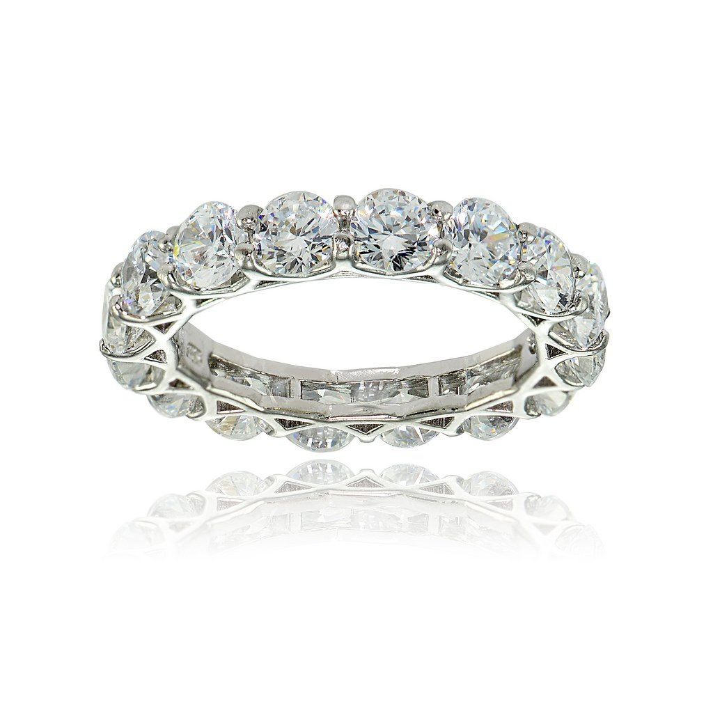Sterling Silver Cubic Zirconia 4mm Round-cut Eternity Band Ring by Hoops & Loops