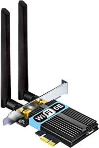 OKN WiFi 6E 5400Mbps AX210 PCIe WiFi Network Card, Up to 6GHz,Bluetooth 5.2,802.11AX Tri-Band Wireless Adapter For PC with MU-MIMO|OFDMA |Heat Sink| Ultra-Low Latency, Supports Windows 10 (64bit) only