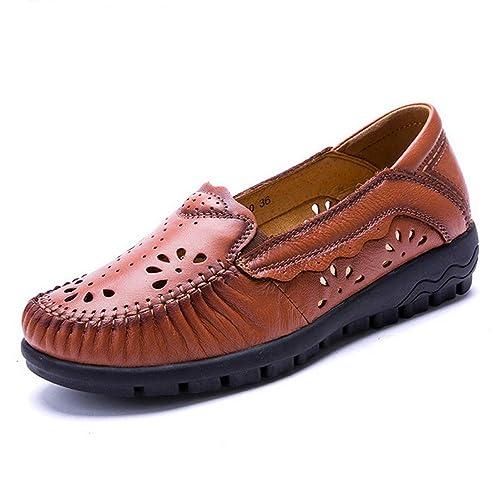 Plataformas Planas De Las Mujeres Zapatos Casuales Pisos De Cuero Hecho A Mano Barco De La Madre Transpirable Solos SeñOras Mocasines Calzado: Amazon.es: ...