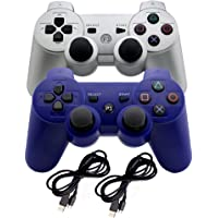 2 Generic Wireless Gaming Controllers for Playstation 3 - Bluetooth Gamepad Game Controller with Dual-Vibration…