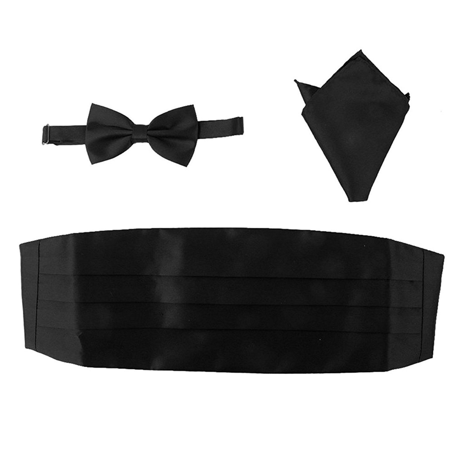 WINOMO Men Satin Bow Tie Cummerbund Handkerchief Pocket Square Hanky Black Set of 3 K160604DLNXE5256