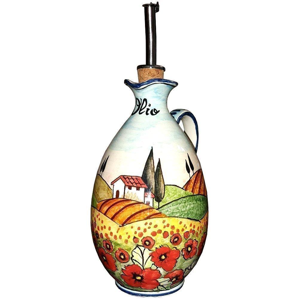 CERAMICHE D'ARTE PARRINI- Ceramica italiana artistica, ampolla olio decorazione paesaggio papaveri, dipinto a mano, made in ITALY Toscana