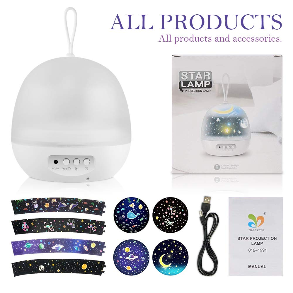 Best Christmas Gift /& Birthday Gift-White/… Projector Lamps for Kids,Baby Star Projector Night Light 4 in 1 LED Starry Rotation Light and Ocean Wave Projector Lamp 8 Colors Mode for Kids /& Baby