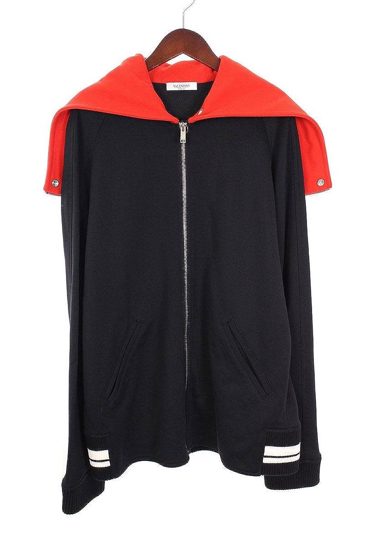(ヴァレンティノ) VALENTINO 【 Always Zip Hooded Sweatshirt PV3MF08Z4VU】バイカラージップアップフードロゴパーカー(L/ブラック×レッド) 中古 B07FMMQNDN  -