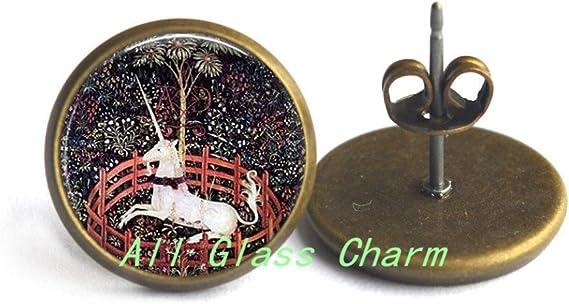 AllGlassCharm Unicorn in Captivity-Unicorn Jewelry-White Unicorn-Medieval Unicorn-Renaissance Jewelry,AS0197