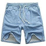 Manwan walk Men's Casual Classic Fit Cotton Elastic Jogger Gym Drawstring Knit Shorts (Medium, Blue)