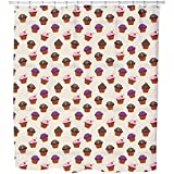 Glaced Cupcakes Shower Curtain: Large Waterproof Luxurious Bathroom Design Woven Fabric
