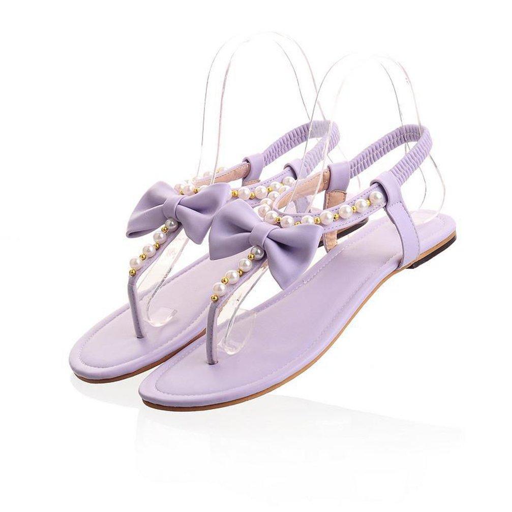 Sandalias Planas Zapatos De Playa Tanga Casual Mujer Verano Dedo Del Pie Abierto Flip Flop Zapatillas De La Correa Del Tobillo,Purple,32 32|Purple
