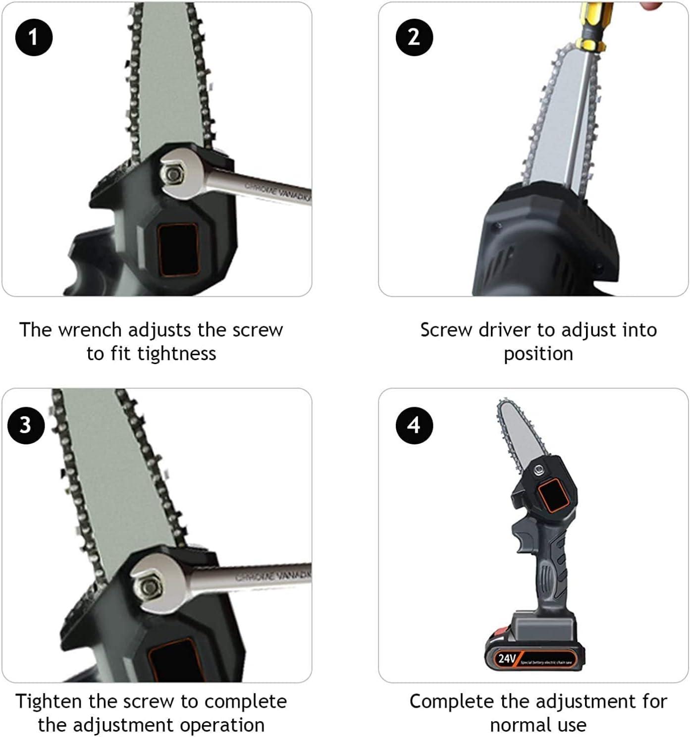 B/ürstenloser Kettens/ägenmotor Elektrische 24-V-Hands/äge mit einem Gewicht von 0,7 kg ein Paar Schneidschutzhandschuhe 4-Zoll-Akku-Kettens/äge Mini-Kettens/äge
