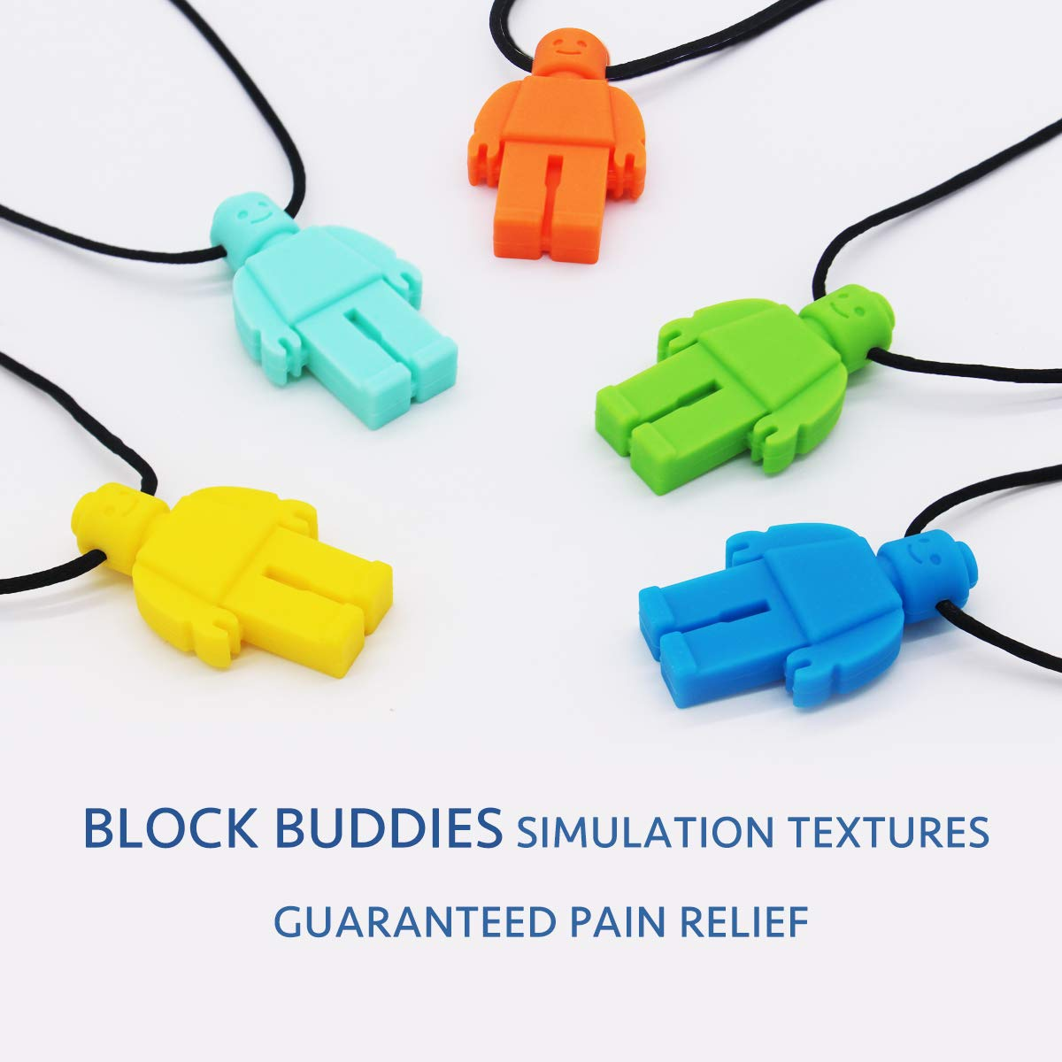 BPA Free /& Durable Designed for Autism - Oral Sensory Chew Toys Teether Necklace Chewing Necklace Teething Necklace 5 Pack ADHD Boys or Girls Sensory Chew Necklace for Kids Oral Motor Boys