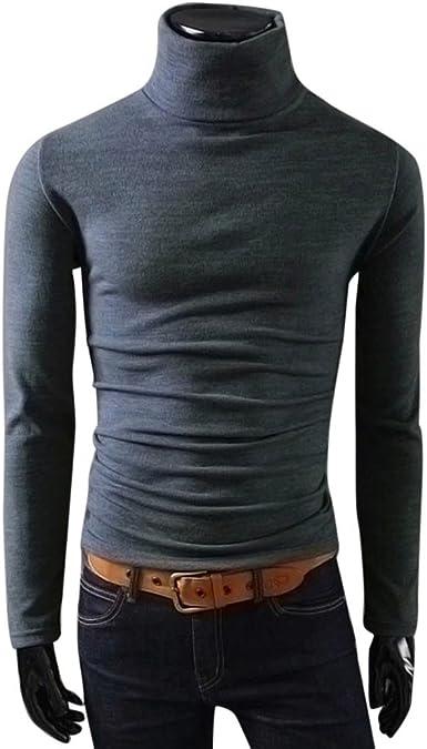 Camiseta de Hombre Top de Manga Larga Calentar Cuello Alto Blusa ...