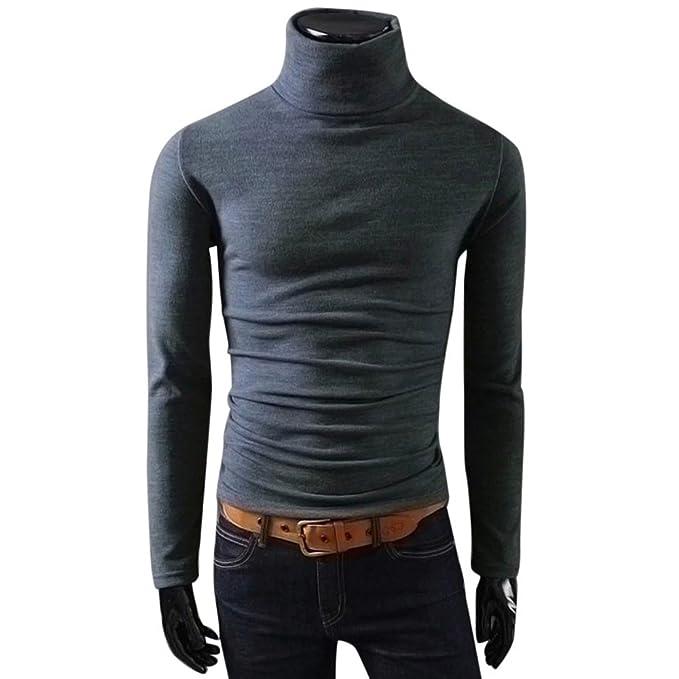Camiseta de Hombre Top de Manga Larga Calentar Cuello Alto Blusa Mezcla De Algodón Ropa Interior Hombre: Amazon.es: Ropa y accesorios